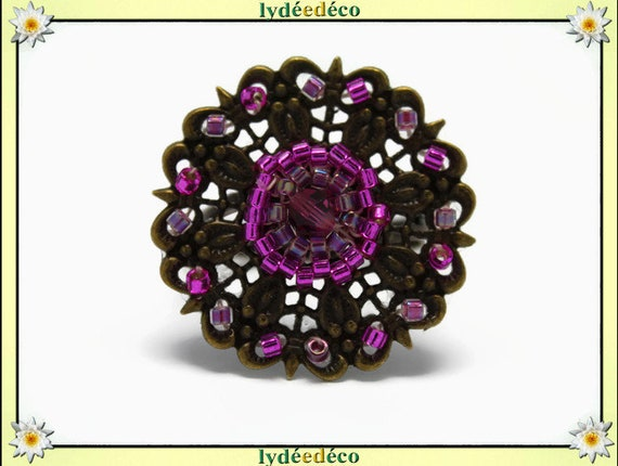 Charming retro vintage adjustable flower ring brass pink Japanese glass beads bronze 25mm
