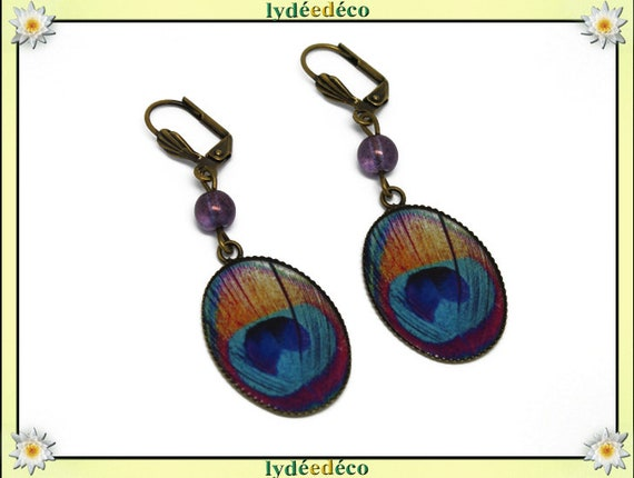 Earrings vintage retro feather peacock blue pink turquoise orange resin glass bronze Pearl pendant 18 x 25mm