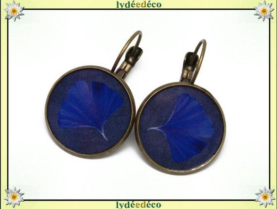 Earrings retro Ginko Japan Midnight Blue tree sacred resin brass bronze
