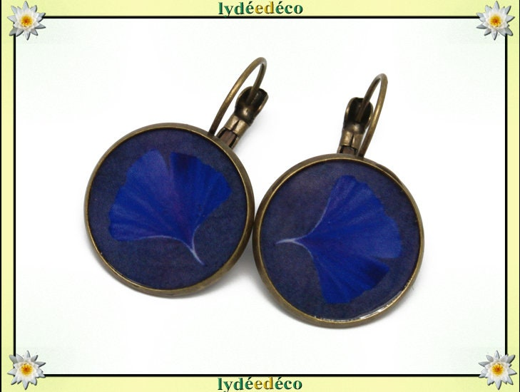 Earrings Retro Ginko Japan Midnight Blue Tree Sacred Resin Brass Bronze