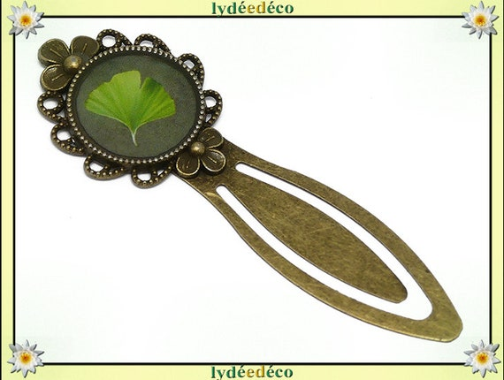 Bookmark retro Ginko tree Japan green lime resin and brass bronze 20mm