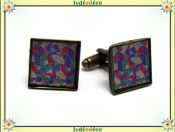 2 resin fan Japan suit cuff links-multicolored bronze 16mm master thank you for father's day birthday gift