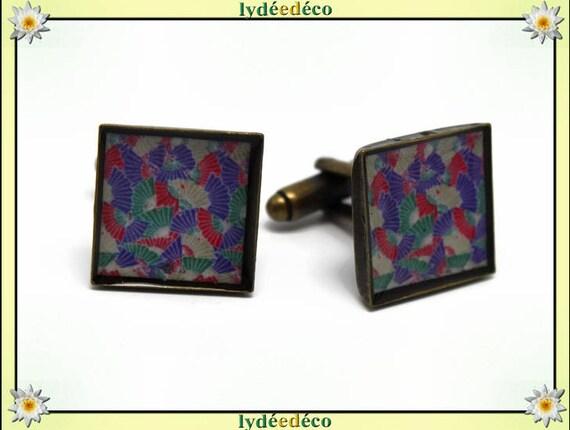 2 boutons de manchettes costume résine eventail Japon multicolore laiton bronze 16mm fete des peres merci maître cadeau anniversaire