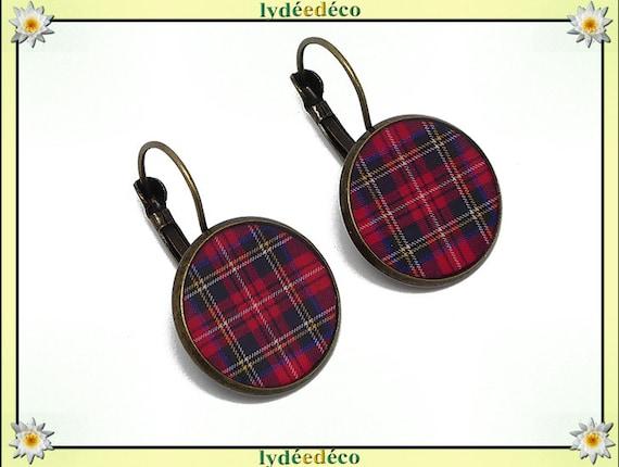 Earrings retro Plaid red tartan Scottish Outlander resin brass bronze mother's day birthday Christmas gift
