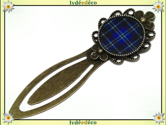 Bookmarks fabric blue black Tartan check tartan Outlander resin 20mm mother's day gift personalized birthday thank you teacher