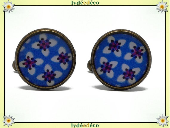 2 retro resin cuffs flower Japan blue white red washi bronze brass 14mm party of fathers master birthday gift
