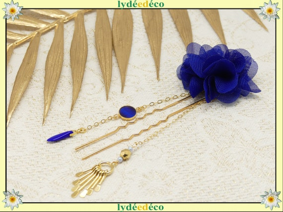 Pique BLUE hair accessory comb or bar leaves brass gold blue pearl resin wedding gift