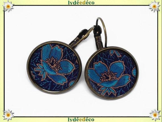 Retro earrings Magnolia flowers blue night duck Brown resin brass bronze 2cm feast of mothers birthday gift Christmas