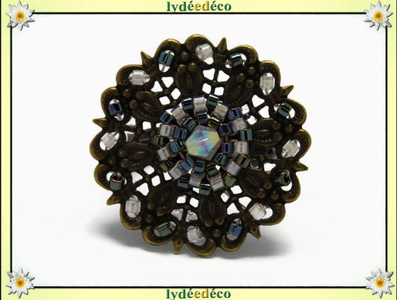 Japanese white gray glass 25mm bronze beads charm retro vintage adjustable flower ring