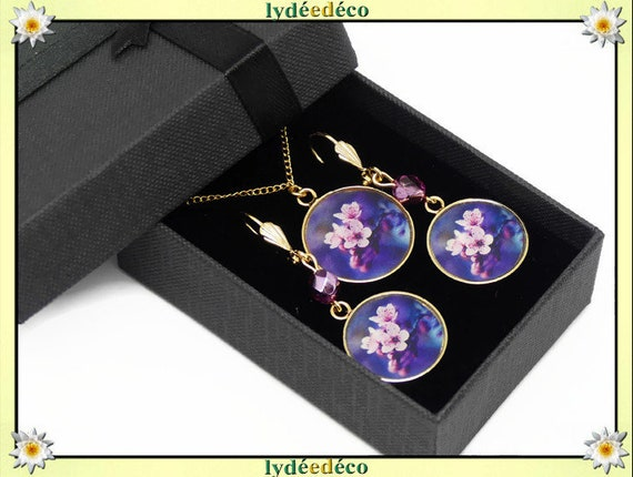 Parure Collier Loops Japan cherry blossom purple pink brass golden 24k gold filled 14K birthday party of the mothers birthday gift Christmas