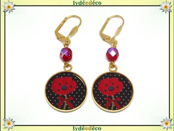 Earrings brass poppy flower red resin black polka dot gift Pearl 24K Gold anniversary mothers wedding thank you teacher