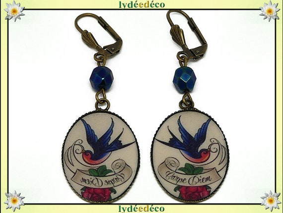 Earrings retro bird Carpe Diem peace pink blue white resin bronze Pearl old school mother's day birthday gift