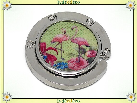 Hanging purse exotic resin flamingos pink flamingo flowers pink blue green lime silver diameter 4.5 cm