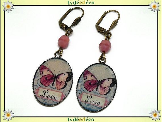 Earrings retro vintage blue butterfly pink black resin beads bronze brass glass 18 x 25mm birthday Christmas mothers