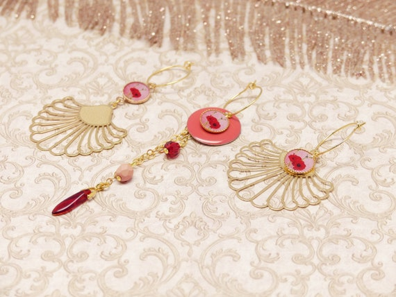 Mini Creoles COQUELICOT interchangeable 12 in 1 sequin chain pearl brass or flower swarovski red pearl pink ceremony wedding