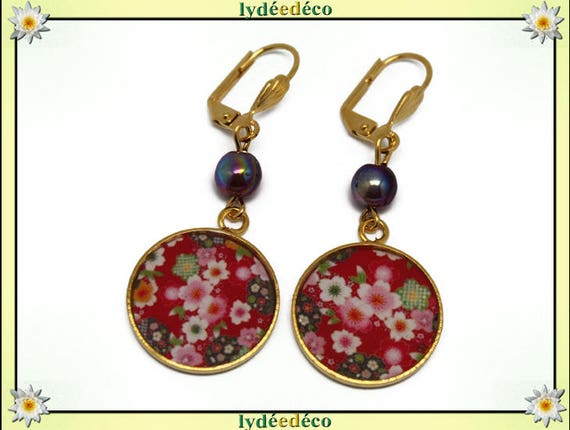 Brass cherry blossom earrings gold 24 k Japan white red rose resin bead gift birthday mother's day wedding centerpiece