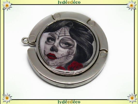 Bag retro Fleur Muerte woman Old School red gray white resin on metal silver hook