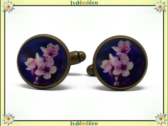 2 button cuffs retro purple rose resin flower cherry Japan brass bronze 14mm master thank you for father's day Christmas birthday gift
