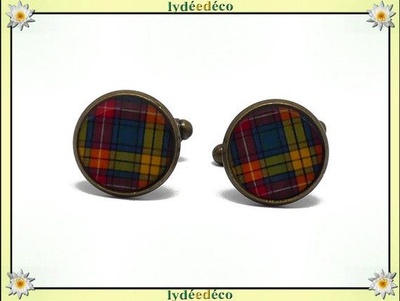 2 button cufflinks suit fabric resin orange green Scottish tartan Outlander brass 14mm father's master birthday gift