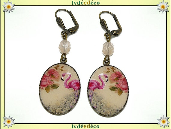 Exotic resin flamingos flamingo coral beige resin rose flower brass earrings pearls mother's day gift birthday