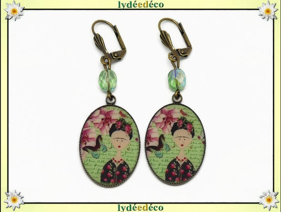 Earrings retro Frida Kahlo Butterfly bird flower green rose resin brass bronze beads faceted birthday mother's day Christmas