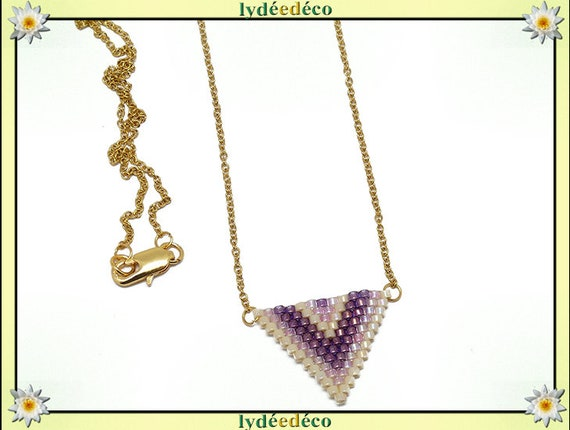 Necklace pink purple blue pastel beige triangle chevron chain steel weaving stainless mother's day birthday Christmas gift