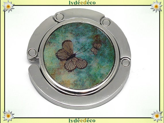 Melon green and Brown retro Butterfly handbag resin on metal silver mother of day Christmas birthday gift