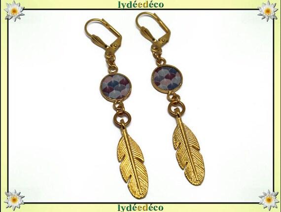 Earrings GINKO leaf brass gold 24 k Japan pink blue purple night resin gift birthday mother's day wedding thank you teacher