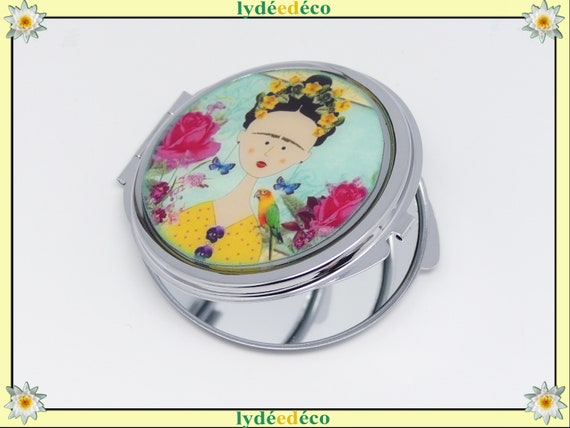 Mirror FRIDA butterfly flower blue yellow pink or green pink resin metal silver Frida Kahlo mother's birthday party