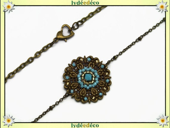 Vintage flower headband print and gold pastel turquoise blue glass beads bronze
