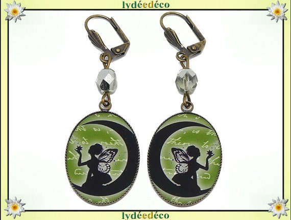Earrings vintage retro green white black grey fairy Moon resin bronze beads glass mothers birthday gift Christmas