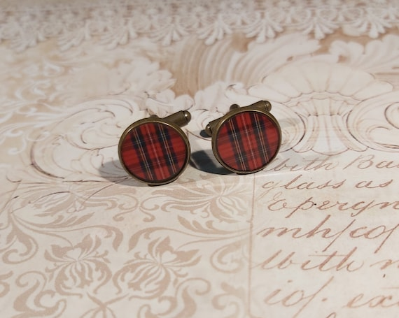 BUTTONs on the edges OF THE tartan costume resin Scottish fabric red orange orange brass bronze party of the fathers wedding birthday gift