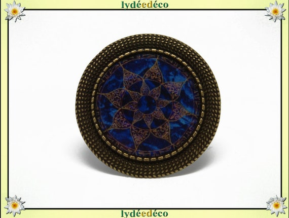 Retro round ring vintage Arabesque blue Brown resin and brass bronze adjustable 20mm diameter