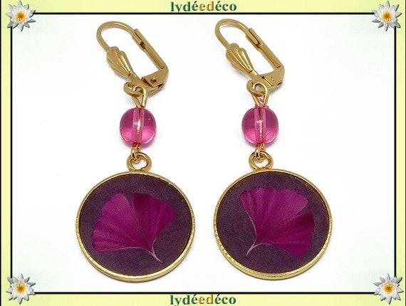 Brass GINKO earrings gold 24 k tree Japan pink resin beads gift birthday mother's day wedding thank you teacher