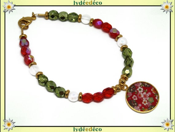 Bracelet resin brass gold 24 carat Japan red pink green white cherry blossom SAKURA gold faceted beads