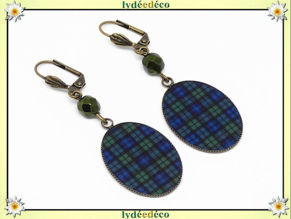 Earrings stowed green green black watch tartan resin brass Outlander pearls gift Christmas birthday party mothers