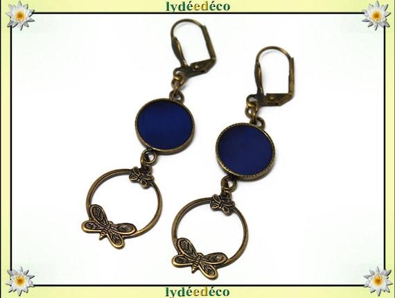 Boucles d'oreilles BLUE laiton bronze bleu nuit résine pendentifs estampe créole papillons
