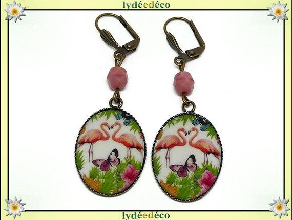 Retro earrings vintage exotic pink flamingo Flemish green white Purple Butterfly resin beads bronze medallions 18 x 25mm