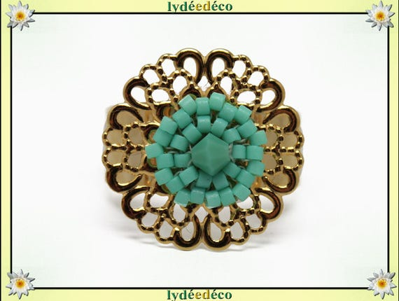 SEA print brass flower ring gold 24 carat 24 K woven beads Japanese green turquoise colors 20mm adjustable