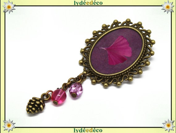 Retro pin resin tree Japan pink Ginko brass oval 18 x 25mm beads charms mothers birthday gift