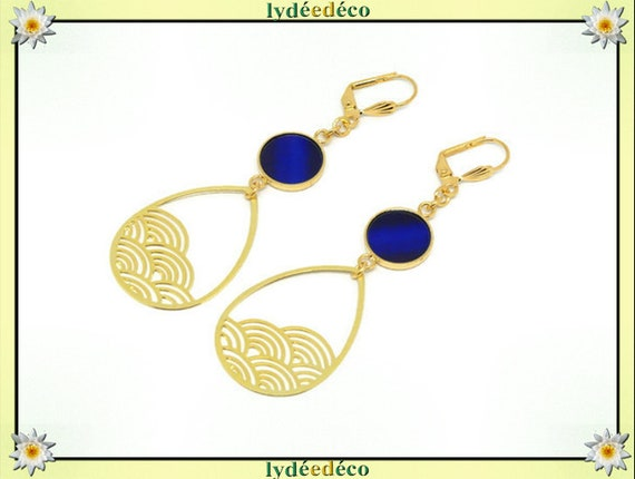 Wave earrings seigaiha Japan blue brass gold gold 24k resin birthday gift party of mothers wedding Christmas