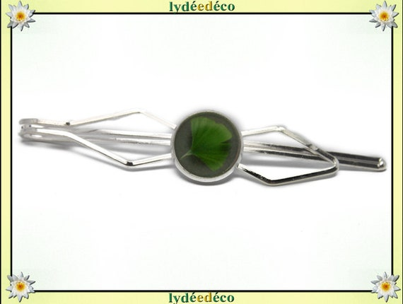 1 green tree resin Ginko Japan brass costume pin tie clip silver 12mm master thank you for father's day birthday gift