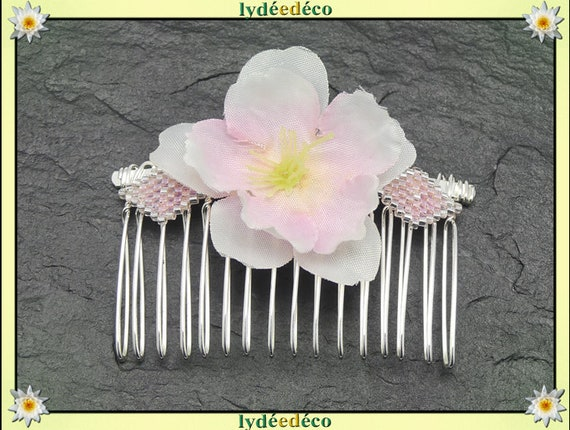 Vintage hair comb wedding weaving Pearl rose gold Japan sakura guest gift bridesmaid jewelry bridal accessory couple witness Fleur