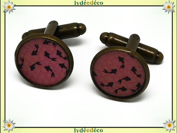 2 button cuffs resin goldfish pink black Japan brass 14mm thank you for father's day master gift birthday mother's day