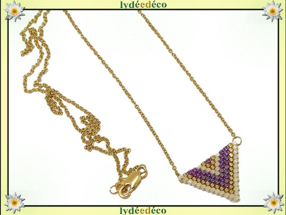 Necklace Golden beige purple triangle chevron chain steel weaving stainless mother's day birthday Christmas gift