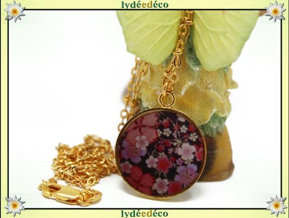 Matinee necklace SAKURA cherry blossom Japan Golden brass gold 24 carat 24 k red Pink Purple black resin mother's day birthday gift