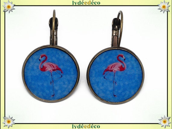 Boucles dormeuses rondes rétro vintage exotique Flamants rose flamingo bleu résine laiton bronze 2cm fete des meres cadeau anniversaire