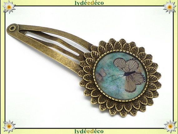 Hair clip wedding retro resin hair clip green brown Butterfly brass bronze mothers birthday gift