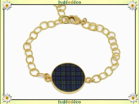Plaid adjustable bracelet Scottish blue green Tartan Black Watch Outlander brass gold 24 carat resin mother's day birthday gift
