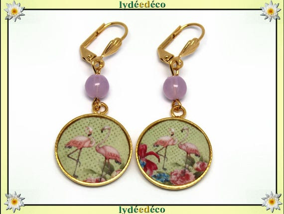 Brass Flamingo earrings 24 k Green Gold resin beads resin gift birthday mother's day wedding thank you teacher